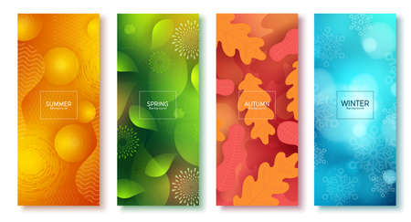 Season abstract vector poster set. Seasonal colorful background like summer, spring, autumn and winter for poster wallpaper collection design. Vector illustration