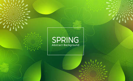 Spring abstract vector template design. Spring abstract background text with green color geometric shape like flowers, petals and leaf elements. Vector illustration