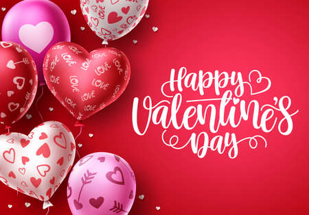 Happy valentines day heart balloons vector background.  Valentine's day greeting text with heart shape and pattern balloon elements in red background. Vector illustration.