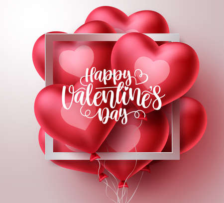 Valentines day vector greeting card design. Happy valentine's day text in white frame with bunch of heart shape balloon elements floating in white background. Vector illustration