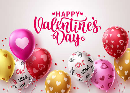 Happy valentine's day balloons vector design. Valentines greeting text typography with colorful birthday balloon elements and heart patterns in white background. Vector illustration.