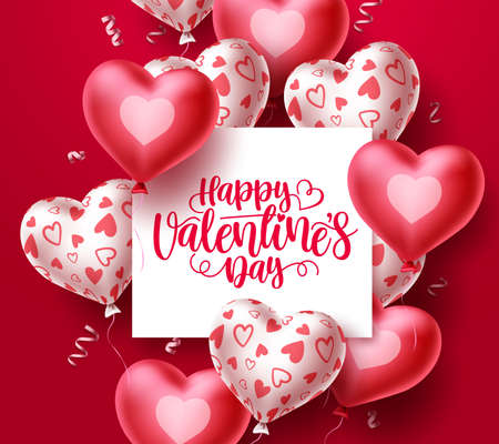 Happy valentines day vector background template. Valentine greeting text in white space with red heart balloon elements in red background. Vector Illustration.
