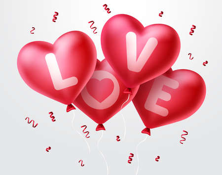 Love heart balloons for valentine's day. Bunch of red heart balloons flying with confetti elements in white background. Vector illustration.
