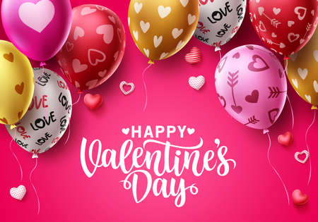 Happy valentines day vector background design. Valentine's day balloons with colorful heart patterns and greeting text for holiday and birthday celebration. Vector illustration. 矢量图像
