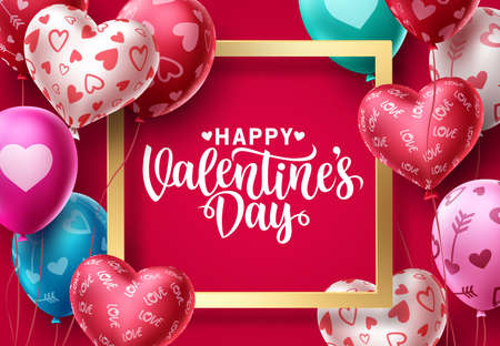 Valentines day balloons vector background design. Happy valentines day greeting text in gold frame with colorful balloon patterns and heart elements in red background. Vector Illustration.
