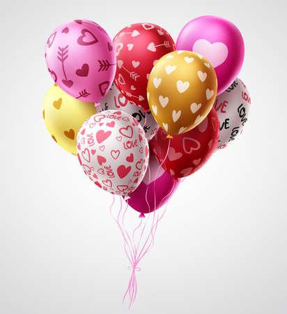 Valentines day balloons vector design. Heart shape colorful bunch of balloons for valentines day and birthday celebrations in white background. Vector illustration. 矢量图像