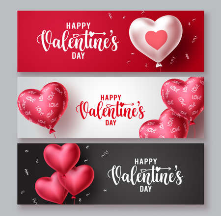 Happy valentines day vector banner greeting cards set. Valentines day greeting text with hearts shape balloon and patterns elements in colorful background. Vector illustration.