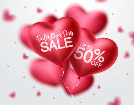 Valentines day sale heart balloon vector banner design. Happy valentines day sale promotion text with red heart balloon elements in blurred background. Vector illustration. 矢量图像