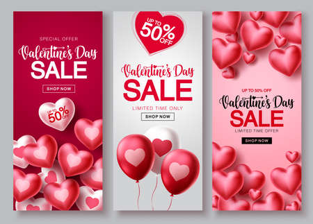 Valentines day sale vector poster set. Valentines day sale text with heart balloon elements in red and white backgrounds for shopping banner promotions. Vector illustration.