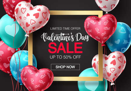 Valentines day sale balloons vector banner design. Happy valentines day sale promotion text with colorful balloons and heart elements in black background. Vector illustration.