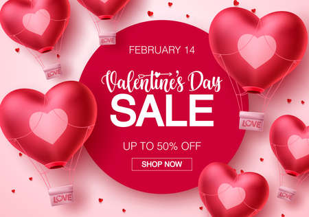 Valentines day sale hearts vector banner template. Happy valentines day sale text with heart air balloon elements in white background for promotional purposes. Vector illustration.