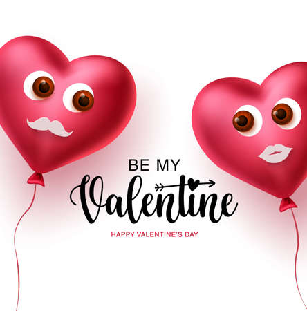 Valentine heart couple balloons vector concept design. Happy valentines text with 3d realistic lover heart balloons decoration elements in white background. Vector illustration