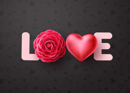 Love vector concept design. Love 3d text with dahlia or rose flower and heart elements for valentines day and wedding celebration in black pattern background. Vector illustration