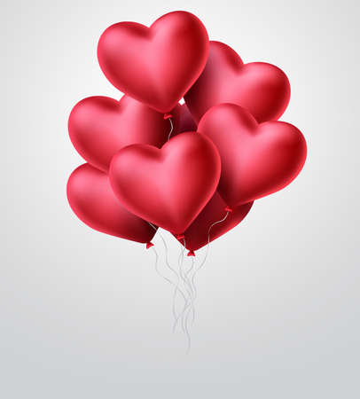 Heart balloons vector concept design. Valentines day with bunch of  red heart balloon elements flying in white background. Vector illustration.