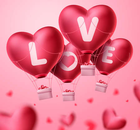 Love heart balloons for valentine's day concept design. Bunch of red heart balloons element floating in blurred background. Vector illustration.