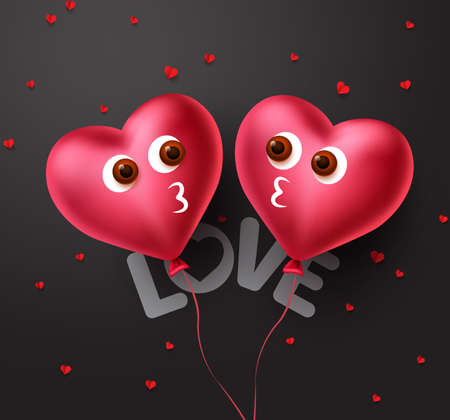 Hearts couple balloon concept design. Valentines 3d heart lovers balloon kissing elements with heart papercut in black background. Vector illustration.