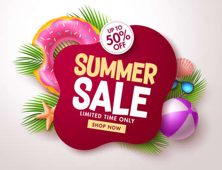 Summer sale vector banner design. Summer sale text in red blank space for tropical season offer in limited time promo discount. Vector illustration. Vektorové ilustrace