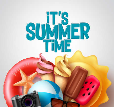 Summer time vector design. It's summer time text with tropical food and beach elements like ice cream, floater, and beachball for tropical season. Vector illustration. 向量圖像