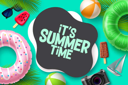 Summer time vector template design. It's summer time in blank space for text with tropical season elements like floaters and beach ball for beach vacation. Vector illustration.