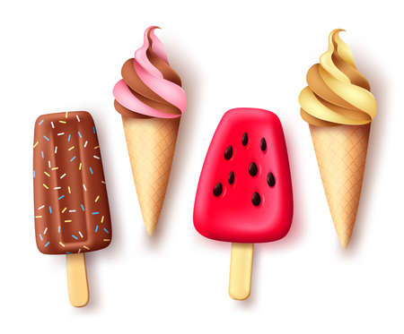 Summer ice cream   vector set. Tropical refreshment food collection with delicious flavor isolated in white background for hot season refresh. Vector illustration. 向量圖像