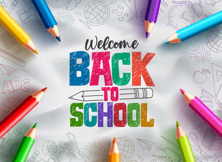 Back to school vector background design. Welcome back to school text with colorful pencils educational supplies element in hand drawn background. Vector illustration Ilustração