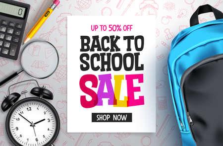 Back to school sale vector banner design. Back to school promotion text with 50% off educational supplies for advertisement design. Vector illustration Ilustração