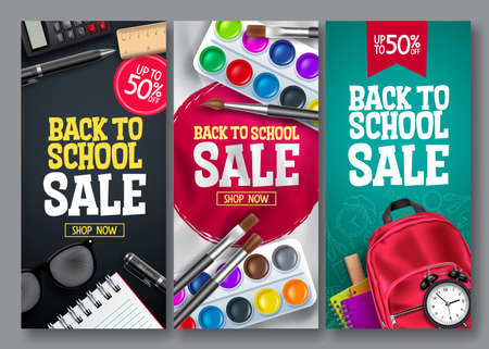 Back to school sale vector poster set. Back to school educational supplies promotion for advertising collection design. Vector illustration