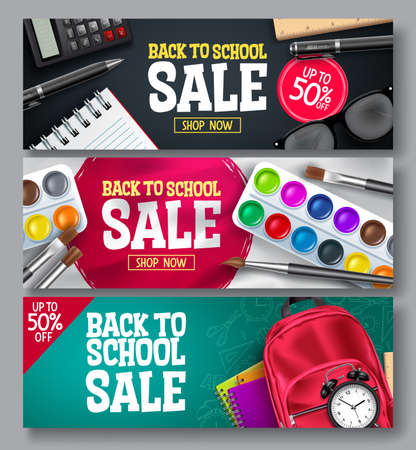 Back to school sale vector banner set. Back to school promo educational supplies for advertisement collection design. Vector illustration