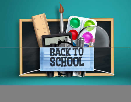 Back to school new normal vector design. Back to school text in face mask with 3d educational supplies for educational prevention campaign. Vector illustration Ilustração