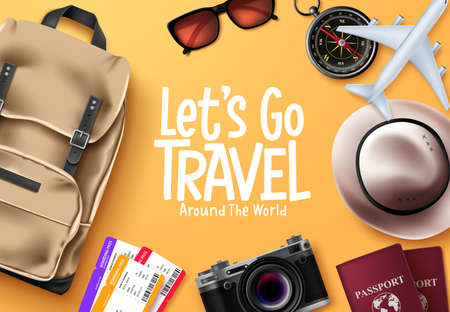 Travel vector background design. Let's go travel around the world text in yellow space with traveler elements for trip and tour vacation. Vector illustration.