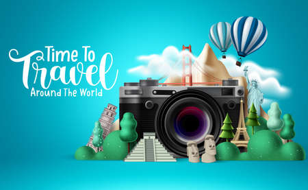 Travel time vector design. Time to travel around the world text with traveler camera elements and international landmarks for trip and tour vacation. Vector illustration