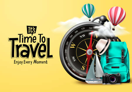 Travel time vector design. It's time to travel text in yellow empty space with traveler compass elements for international trip and tour exploration. Vector illustration.