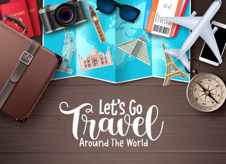 Travel vector design. Let's go travel around the world text in wood space background with traveler elements for trip and tour worldwide destination vacation. Vector illustration. 向量圖像