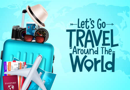 Travel vector background design. Let's go travel around the world text in blue empty space with traveler elements for international adventure trip. Vector illustration.