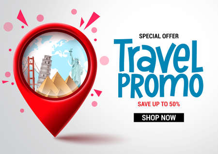 Travel sale vector banner design. Travel promo special offer text with location pin elements for advertising and promotional background. Vector illustration