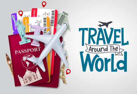 Travel world vector background design. Travel around the world text with traveler passport and ticket elements for trip and tour worldwide vacation. Vector illustration