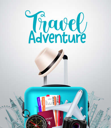 Travel adventure vector background design. Travel adventure text in empty space with traveler luggage, passport and ticket elements for trip and tour international vacation. Vector illustration