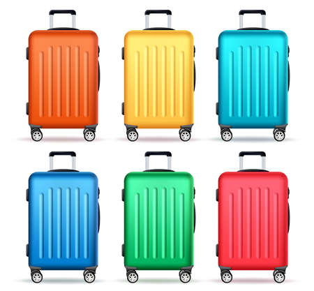 Travel luggage vector set design. Travel and tour with colorful trolley bag elements isolated in white background for traveler suitcase collection design. Vector illustration.