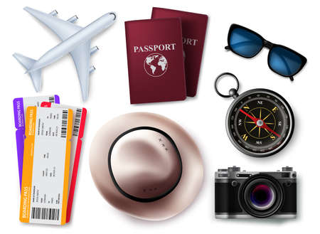 Travel elements vector set design. Travel and tour 3d object element isolated in white background for traveler items collection. Vector illustration.