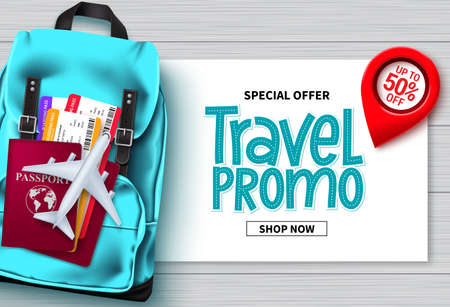 Travel sale vector banner design. Travel promo special offer text with traveler bags, passport and ticket elements for advertising and promotional background. Vector illustration