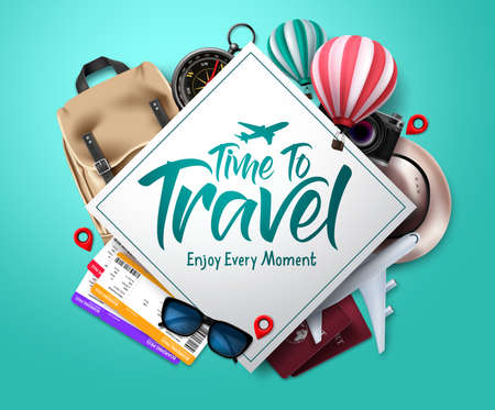 Travel time vector template design. Time to travel text in empty space frame with traveler elements for international trip and vacation. Vector illustration