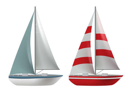 Travel boat vector set design. Travel ship and yacht collection elements isolated in white background for international cruise transportation. Vector illustration. 向量圖像