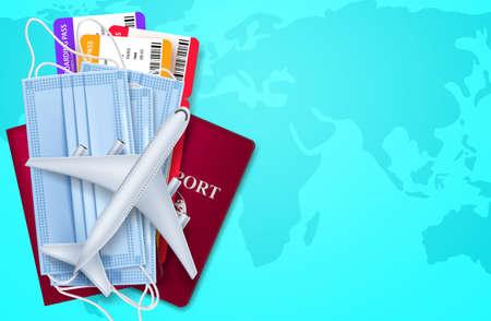 Travel   vector background design. Travel health protection international flight cancelled for   prevention worldwide pandemic. Vector illustration.