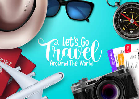 Travel vector background design. Let's go travel around the world text in blue empty space with traveler elements for international vacation trip. Vector illustration.