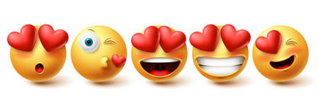 Smiley in love face vector set. Smileys and emoji collection in kissing, in love and happy facial expressions isolated in white background for emoticon design elements. Vector illustration 向量圖像