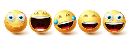 Smileys happy face vector set. Smiley faces and emoticon happy, cool, funny and cheerful facial expressions isolated in white background. Vector illustration