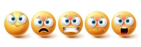 Smiley emoji angry vector set. Smileys sad and serious yellow faces collection isolated in white background for upset emojis graphic elements . Vector illustration 向量圖像