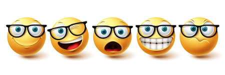 Smiley face vector set. Smileys nerd face with funny, happy and naughty facial expressions in yellow color emoji isolated in white background. Vector illustration 向量圖像