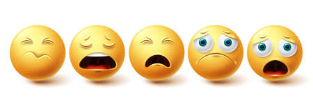Smiley emoji sad vector set. Smileys and emoticon lonely, shocked and depressed yellow faces collection isolated in white background for emoji graphic elements . Vector illustration
