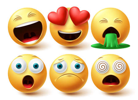 Smiley emoji faces vector set. Smileys emojis yellow icon collection with inlove, happy and sad facial expression in white isolated background. Vector illustration